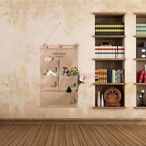 practical jute letters bedroom home wall hanging storage bag organiser