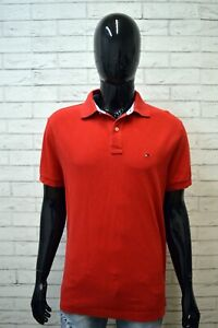 Polo-Rossa-Maglia-Uomo-TOMMY-HILFIGER-Taglia-L-Maglietta-Camicia-Shirt-Man