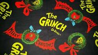 16 Dr Seuss Grinch Merry Christmas Wreath Navy Flannel Accent Pillow Sham Cover