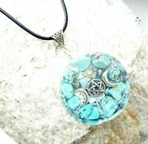 necklace-Orgonite-Triple-Moon-Wicca-pendant-Turquoise-energy-protection