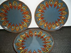 3-PIER-1-IMPORTS-STONEWARE-PLATES-BLUE-BROWN-PEACOCK-PLATES-7-1-2-039-039