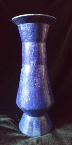 "Lapis Vase Lapis Lazuli Mosaic Over Brass Vase 9/"""