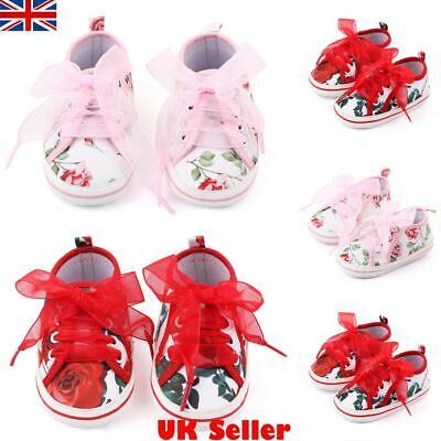 UK Infant Newborn Baby Girl Bling Crib Pram Shoes Bow Soft Sole Shoes Prewalker