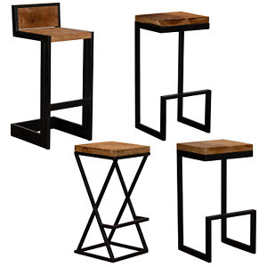Pleasant Details About Bar Stools Reclaimed Wood Style Box Steel Metal Frame Vintage Rustic Industrial Caraccident5 Cool Chair Designs And Ideas Caraccident5Info