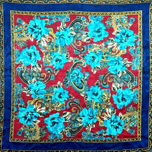 Vintage Red Blues Gold Silk Baroque Floral Paisley