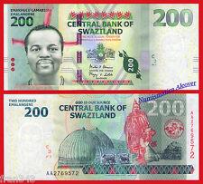 SWAZILAND 200 Emalangeni 2014 Pick 40b AA SC / UNC
