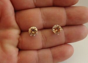 925-STERLING-SILVER-CHAMPAGNE-STUD-EARRINGS-W-5-CT-CHAMPAGNE-DIAMOND-8MM