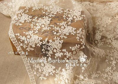 1000 cotone embroiodered nuziale pizzo/rifinitura by 0,45m 137.2cm ampiezza