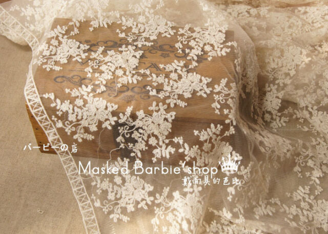 "1000 cotton embroiodered bridal lace/trim Sold by 1/2 yard 54"" wide in 3 colours"