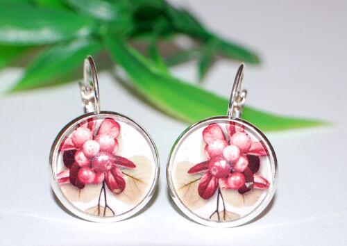 + Glas Cabochon Flower Ohrringe Brisur + IKEBANA Blumen Ohrhänger AUSWAHL