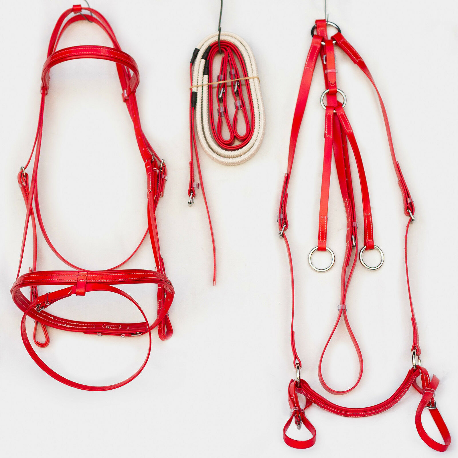 Full Dimensione Hanovarian Bridle, Reins and Breastplate Set  rosso
