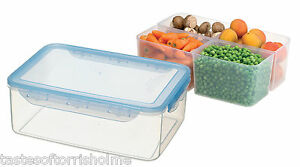 5 2ltr very large airtight food storage container with 4 plastic compartments 691199080517 ebay. Black Bedroom Furniture Sets. Home Design Ideas
