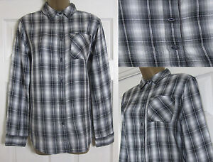 New Ex M/&S Ladies Grey Checked Shirt Top Size 8-22 Casual