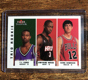 Dwyane-Wade-ROOKIE-CARD-2003-04-Fleer-Tradition-TRIO-RC-Dwayne-MIAMI-HEAT