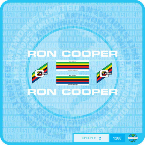 Ron Cooper Bicycle Decals Transfers Stickers Set 2