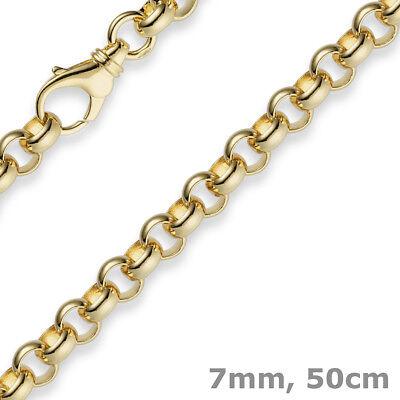 7mm Kette Collier Erbskette Aus 750 Gold Gelbgold, 50cm, Unisex, Goldkette Bequem Und Einfach Zu Tragen
