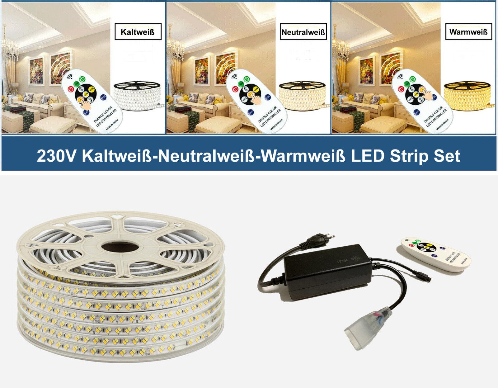2-50 Meter 230V LED Warmweiß Kaltweiß Neutralweiß Strip Streifen 144 LEDs M IP67