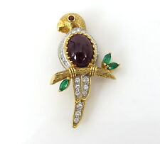 Vintage 0.85ct Diamond 6.0ct Mogok Ruby & 0.45ct Emerald 18K Gold Parrot Pin