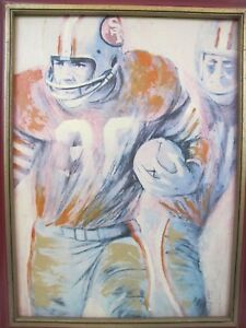 VINTAGE-1960s-DAVE-BOSS-SIGNED-SAN-FRANCISCO-49ERS-SF-PLAYER-CANVAS-PAINTING