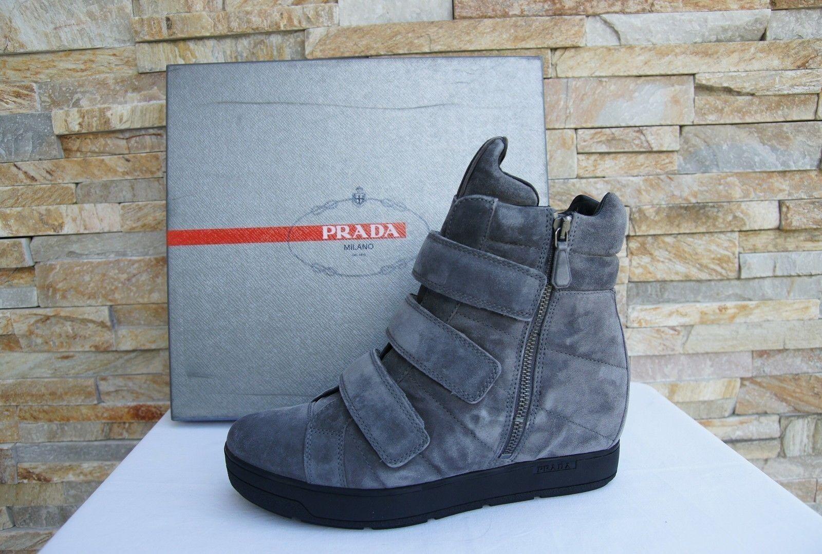 PRADA Gr Gr Gr 37 Stiefeletten Stiefelies Schuhe 3TZ035 Leder grau kies neu ehem edb9ce