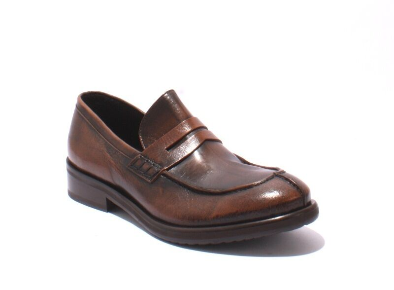 Ernesto Dolani 2125 Antique Style Brown / Brushed Leather Loafers 42 / US 9
