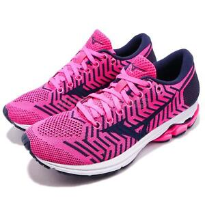Mizuno-WaveKnit-R2-Pink-Fuchsia-Navy-Womens-Running-Shoes-Runner-J1GD1829-11