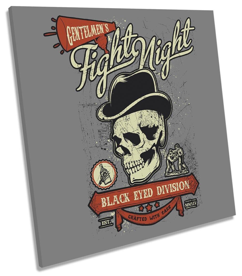 Gentlemans Fight Night Skull Bild CANVAS Wand Kunst Square Drucken