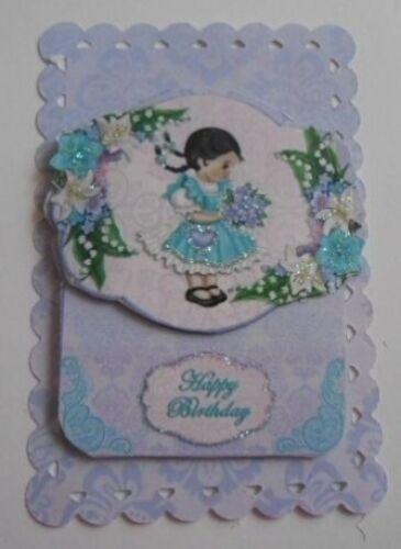 PK 2 Feliz Cumpleaños Floral NIÑA ADORNO TOPPERS PARA TARJETAS Y MANUALIDADES