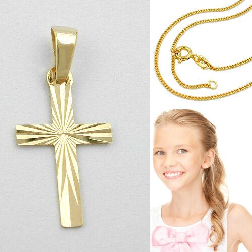 Baby Taufe Kinder Kommunion Kreuz Anhänger Echt Gold 333 mit Kette Silber 925 VG