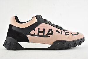 25aed3bf42d82 Chanel 18B Black Pink White Nylon CC Logo Lace Up Tie Low Top ...