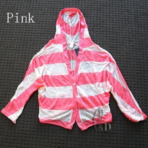 AU SELLER Women/'s Girl/'s Striped Cardigan Crop Top Beach Sun Proof Cover T052