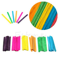 50Pcs Wooden Colorful Ice Cream Popsicle Stick Cake Lolly DIY Handcraft Art Kid