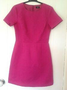 Mini-Vestido-Oasis-color-de-rosa-caliente-Talla-10-Manga-corta-Fiesta-Jaquard-Algodon-A-Medida