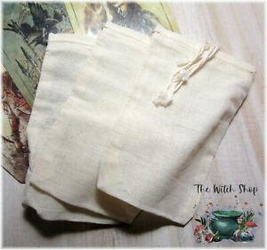 3-Cotton-Pouches-Bags-3-034-x-5-034-Drawstring-Undyed-Charm-Hoodoo-Mojo-Medicine-Bag