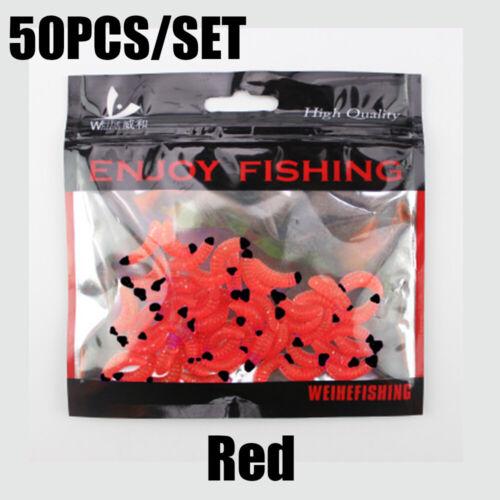 50Pcs Soft Earthworm Fishing Bait Worm Lures Crankbaits Hooks Tackle Baits Nice~