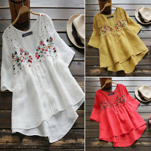 ZANZEA-Women-Button-Half-Sleeve-Embroidery-Blouse-Ladies-Loose-Cotton-Tops-Shirt