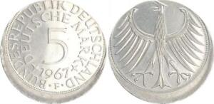 5DM J. 387 Plata Moneda de Curso 1967 Para Fehlprägung 15% Dezentriert Vz-St