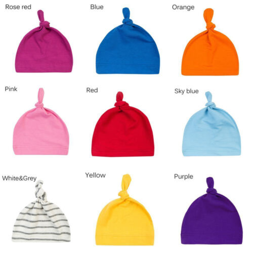 Cotton Beanie Newborn Baby Knotted Hat Boys Girls Soft Cap Infant Toddle Eye HK