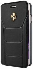 "Genuine Ferrari 488 Black Book Type Case Gold Logo For iPhone 6 & 6s 4.7"" BLACK"