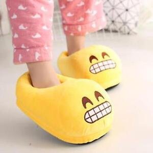 Unisexe-Dessin-Grin-Emoji-Anti-derapant-Interieur-Hiver-Chaud-Chaussures-Peluche