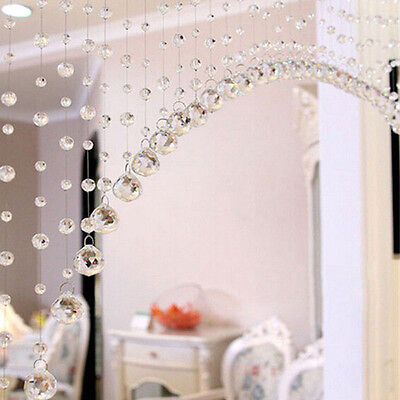 1M/String Glass Crystal Clear Beaded Hanging Curtain Door Decor with Pendant
