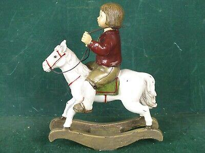 Kleines Schaukelpferd Pferd mit Reiter schöne nostalgische Deko Figur Antik Stil