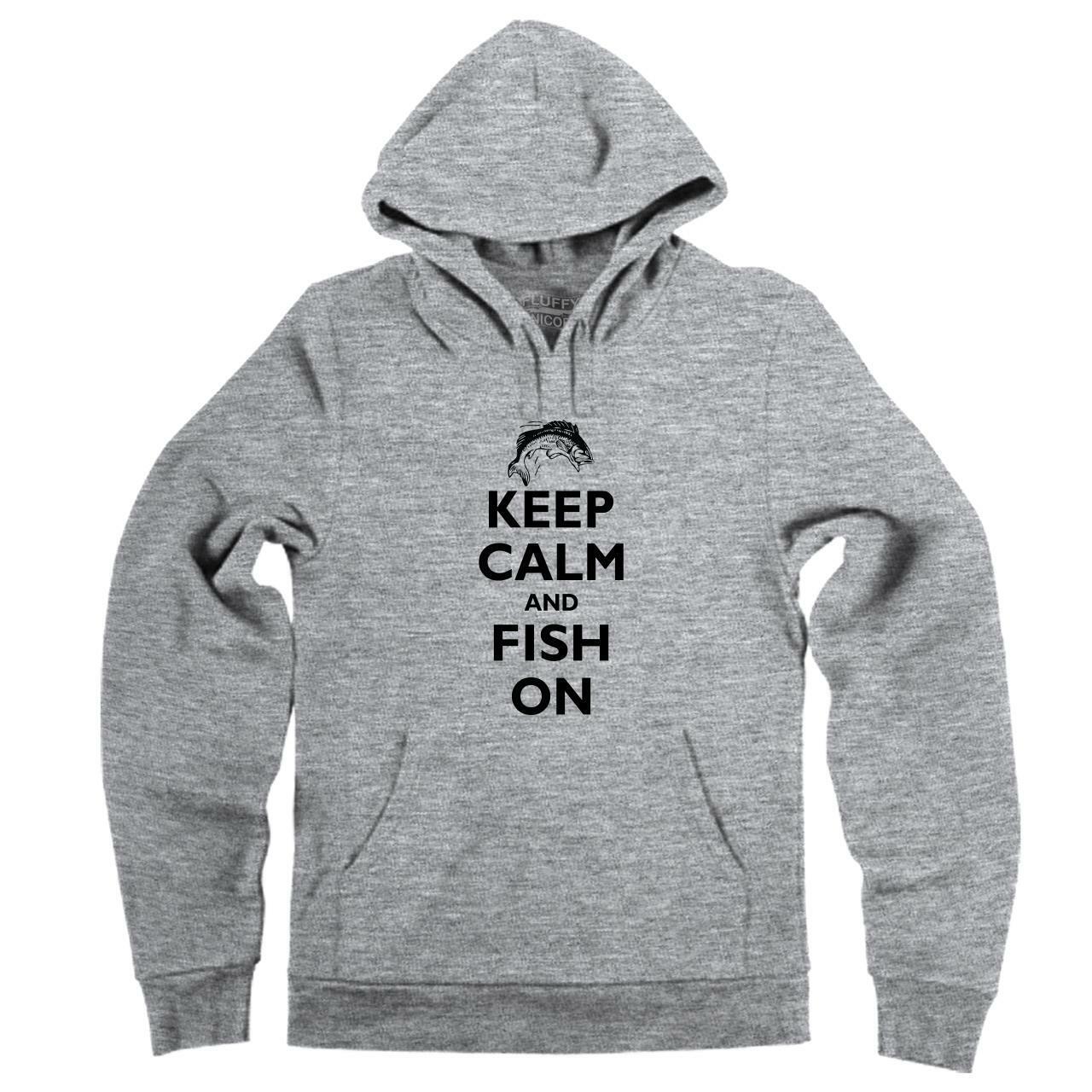 Keep Calm And FISH ON Funny Fishing Hunting Fly Salmon Bass Hoodie Sweatshirt