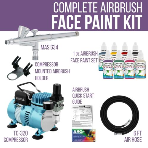 Master Airbrush Air Compressor Kit 8 Color Face and Body Art Tattoo Paint Set