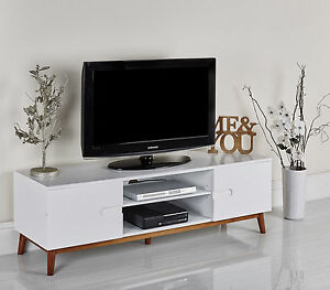 TV Stand Table Retro Room Furniture White Modern Cabinet