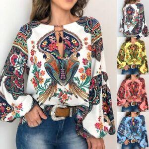 Women-Boho-Floral-V-Neck-Long-Lantern-Sleeve-Oversize-Blouse-T-Shirt-Tops-S-3XL
