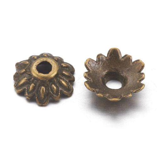 16 Flower Bead Caps Antique Bronze Tone 8mm Findings