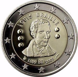Belgien 2 Euro Münze Blindenschrift Louis Braille 2009 Gedenkmünze