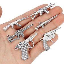 38362 Antique Silver Tone Alloy Pistol Charms Pendant Jewelry 46*20mm 10PCS