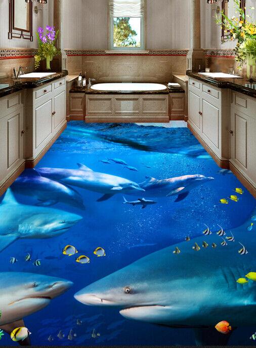 3D Shark Animal Ocean 77 Floor WallPaper Murals Wall Print Decal AJ WALLPAPER US
